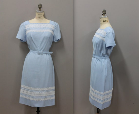 1950s Powder Blue Dress with Lace and Belt, Vintag