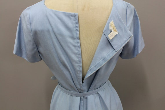 1950s Powder Blue Dress with Lace and Belt, Vinta… - image 7