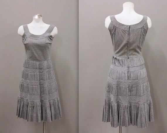 Vintage Larry Aldrich Black and White Gingham Dres