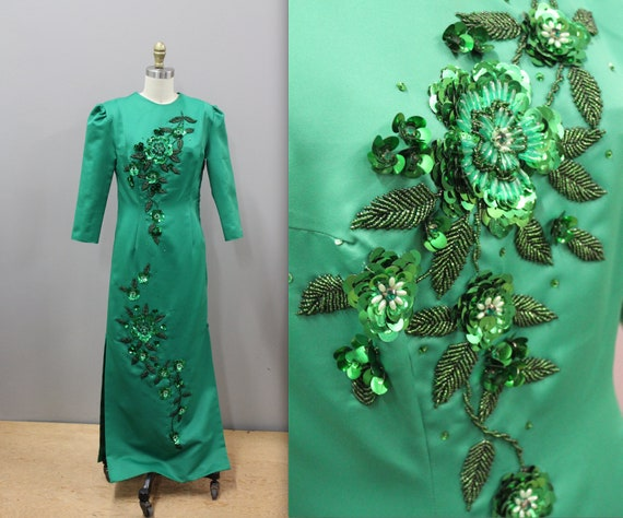 Emerald Green Oriental Style Gown with Sequin Deta