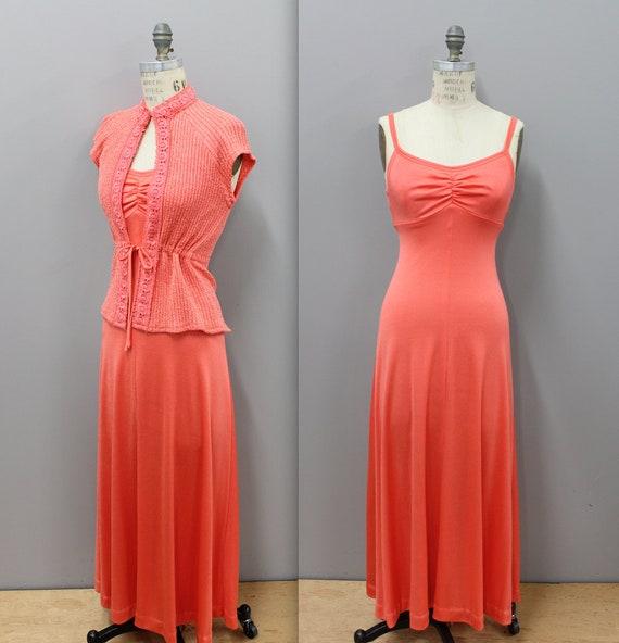 1970s Orange Maxi Dress, 1970s Coral Tank Dress wi