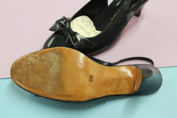 Vintage Navy Blue Halston Slingback Heels with Bo… - image 5