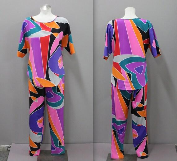 Pazzo Pants & Shirt Lounge Set, Bright Multi-Color