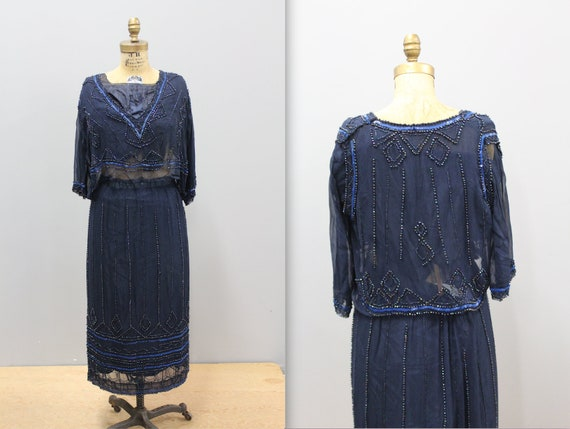 Antique 1920s 1930s Beaded Blue Skirt and Matching