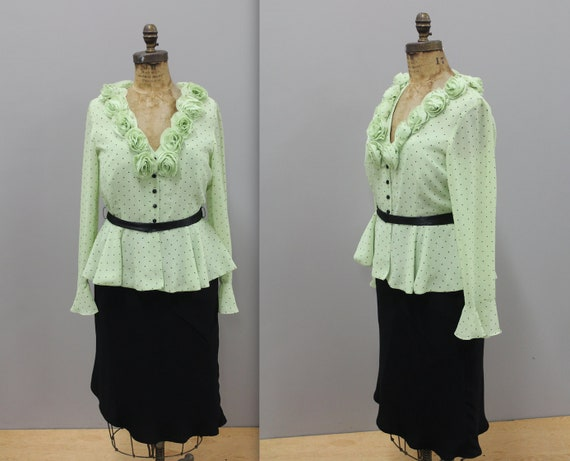 Pistachio Green Retro Two Piece Skirt and Blouse S