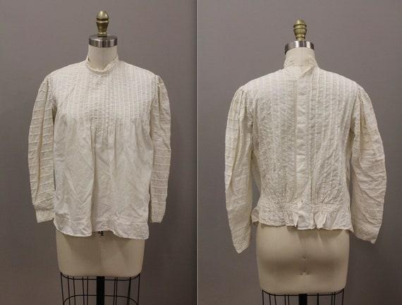 Victorian Shirtwiast, Antique Cotton Blouse, White