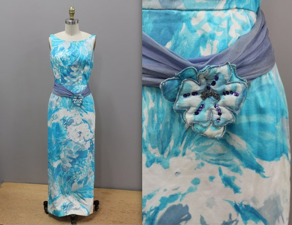 Vintage Hawaiian Dress, Long Blue Hawaiian Dress,