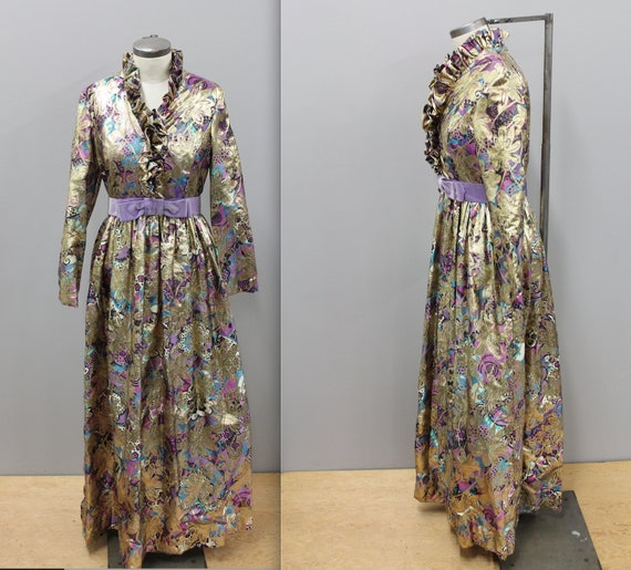 Metallic Gold Maxi Dress with purple tones, 1970s