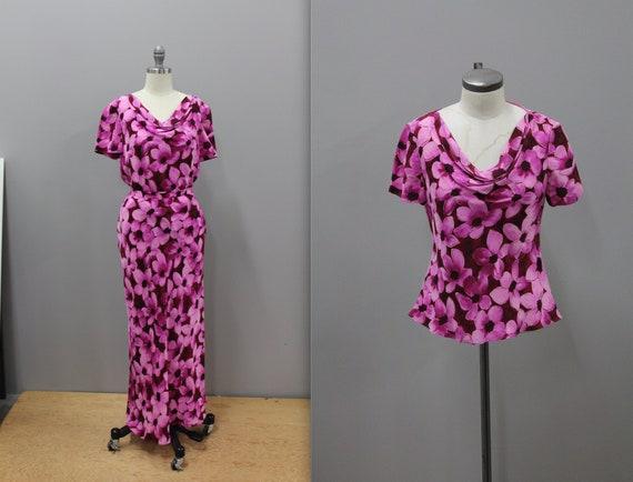 Two Piece Fuchsia Floral Skirt Blouse Set Spenser