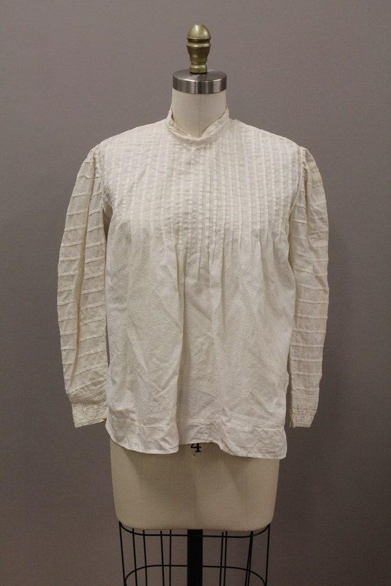 Victorian Shirtwiast, Antique Cotton Blouse, Whit… - image 5