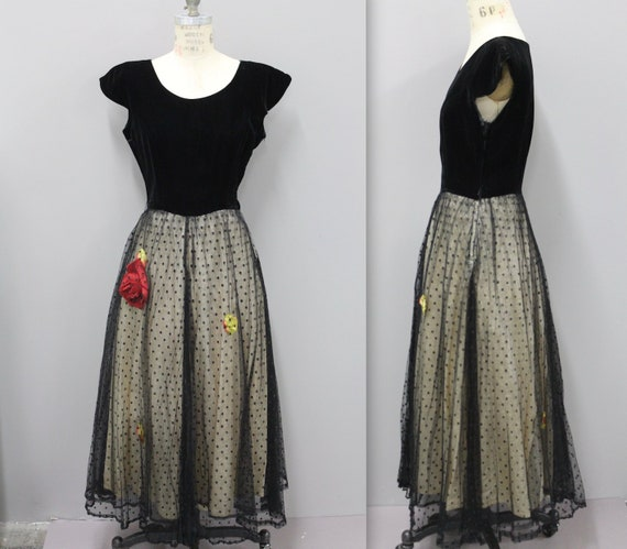 1940s Velvet Dress with Roses, 40s Velvet Gown, Bl