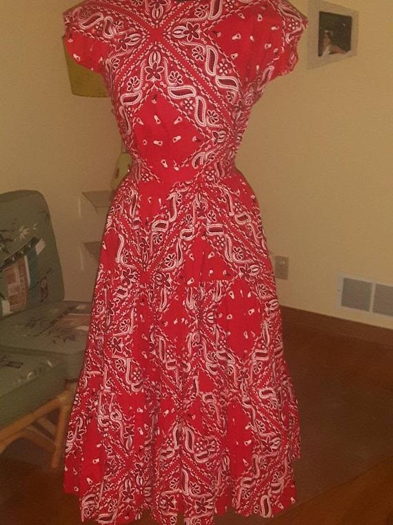 1950's Thunderbird  'Bandanna print' blouse and sk