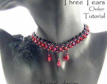 Three Tears, beadwoven necklace, black and red choker