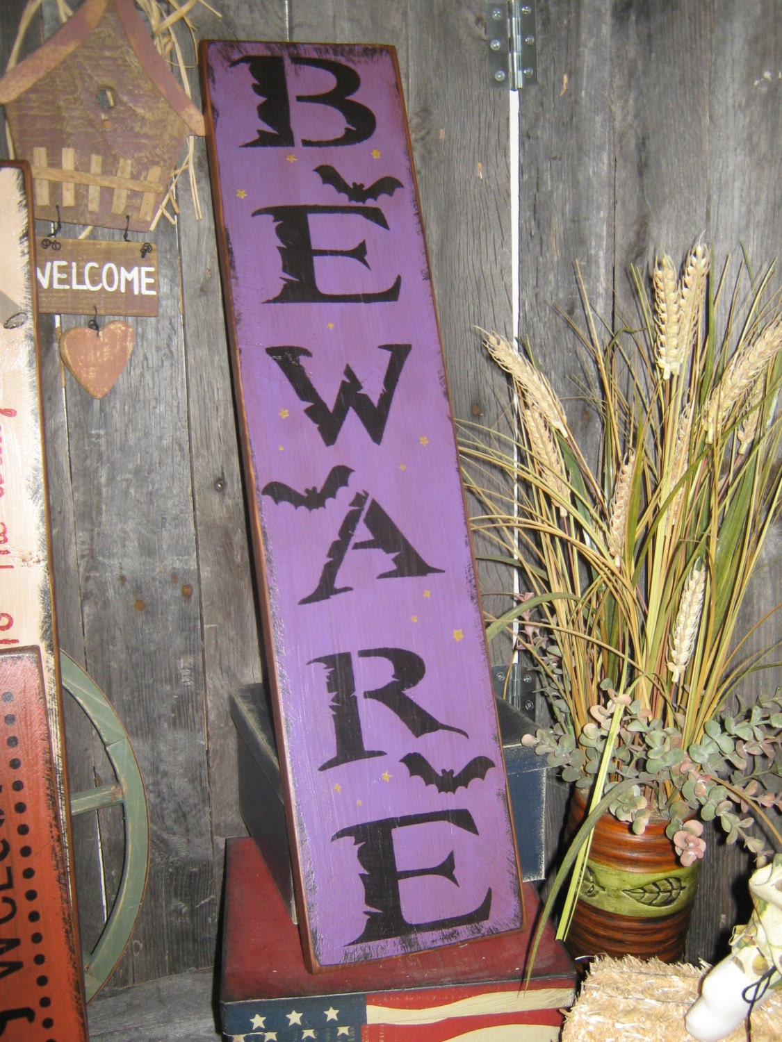 Primitive Large Holiday Wooden Painted Halloween Subway ...