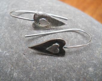 Little Artisan Sterling Silver heart earrings