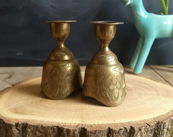 Set of Brass Bell Candle Holders, Bells of Sarna