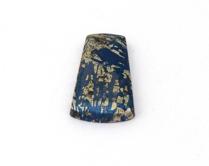 Featured listing image: Metallic Blue Covellite Designer Cab Gemstone 15.4x27.4x3.8 mm Free Shipping Free Returns