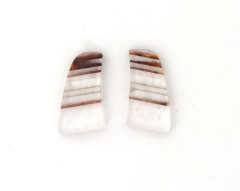 Quartz with Inclusions Cabochon Gemstone Matched Pair 16.4x29.7x4.8 mm Free Shipping Free Returns