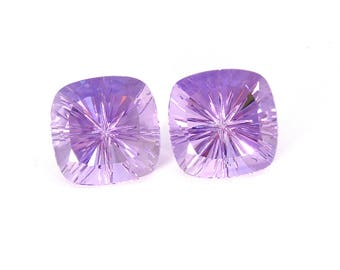 Amethyst Designer Gemstone Carving Faceted Fantasy Cut Matched Pair with Free shipping Free Returns