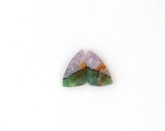 Amethyst & Fluorite Designer Cabochon Gemstone 10.2x17.4x3.5 mm Free Shipping Free Returns