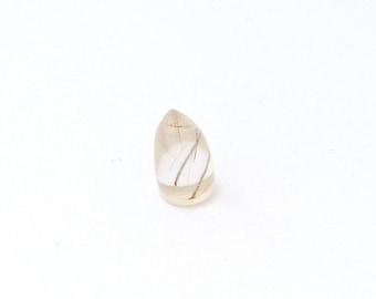 Natural Gold Rutilated Quartz Cabochon Gemstone 10.7x5.7 mm Free Shipping Free Returns