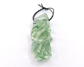 Prasiolite Designer Gemstone Carving Fantasy Cut Pendant Bead with Free shipping Free Returns