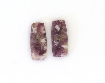 Lepidolite Designer Gemstone Matched Pair 10.4x23.5x4.0 mm Free Shipping Free Shipping