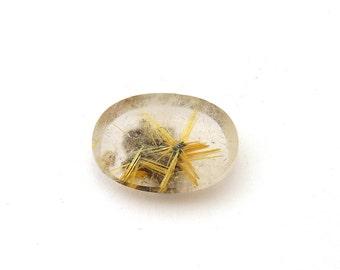 Natural Gold Rutilated Star Quartz Cabochon Gemstone 17.2x22.7x6.7 mm Free Shipping Free Returns