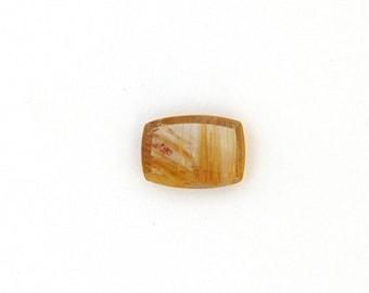 Natural Gold Rutilated Quartz Cabochon Gemstone 10.9x15.3x2.7 mm Free Shipping Free Returns