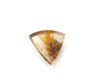 Natural Gold Rutilated Quartz Cabochon Gemstone 20.9x21.8x6.1 mm Free Shipping Free Returns