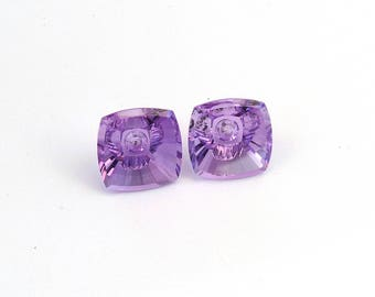 Amethyst Designer Gemstone Carving Faceted Fantasy Cut Matched Pair 14.0x14.1x8.7 mm Free shipping Free Returns