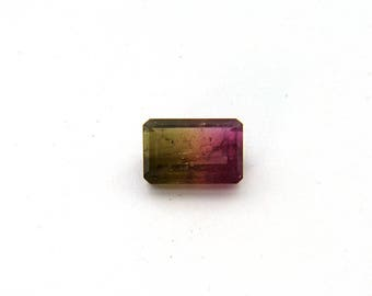 Pink Green Watermelon Tourmaline Faceted Gemstone Free Shipping 9.9x14.7x5.4 mm