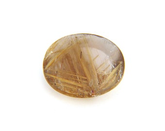 Natural Gold Rutilated Quartz Cabochon Gemstone 14.5x16.9x4.4 mm Free Shipping Free Returns