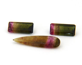 Red Pink Bicolor Tourmaline Faceted Gemstone Suite Free Shipping
