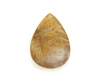 Natural Gold Rutilated Quartz Cabochon Gemstone 15.5x23.5x4.6 mm Free Shipping Free Returns