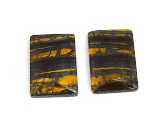 Tiger Iron Designer Cabochon Gemstone Matched Pair 13.8x19.4x3.6 mm Free Shipping Free Returns