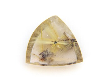 Natural Gold Rutilated Star Quartz Cabochon Gemstone 22.0x22.5x7.3 mm Free Shipping Free Returns