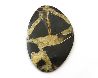 Simbercite or Simbircite Pyrite Agate Designer Cabochon Free Shipping 35.8x53.7x4.9 mm