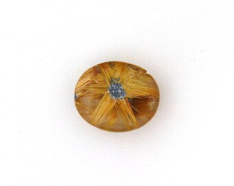 Natural Gold Rutilated Star Quartz Cabochon Gemstone 17.4x20.8x8.4 mm Free Shipping Free Returns