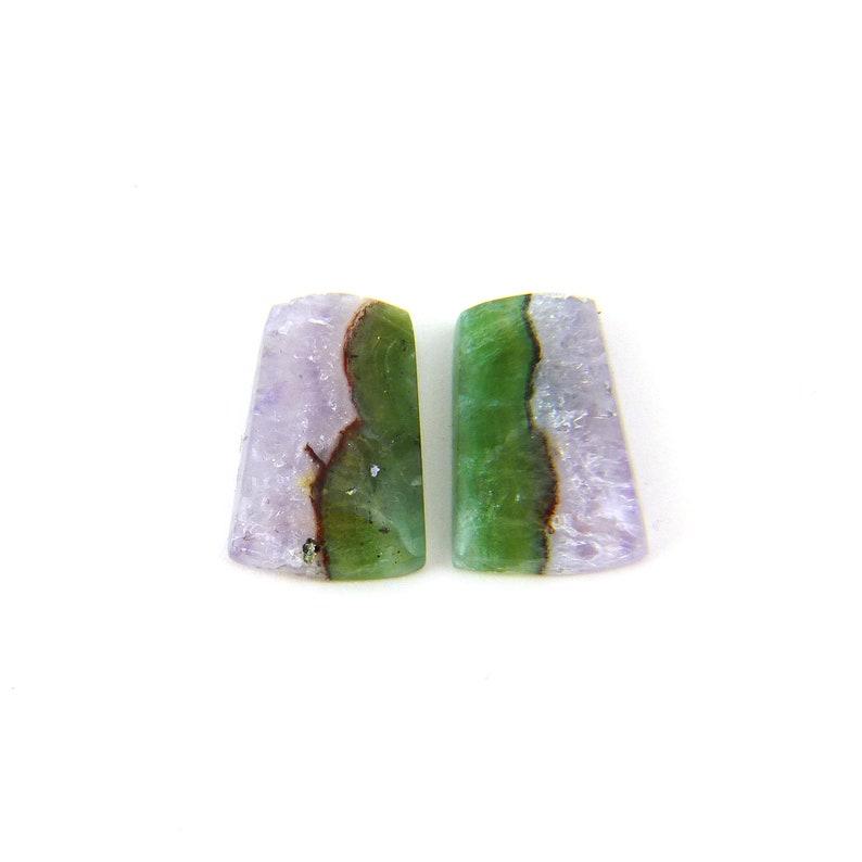 Amethyst & Fluorite Designer Cabochon Gemstone 11.2x16.9x3.7 image 0