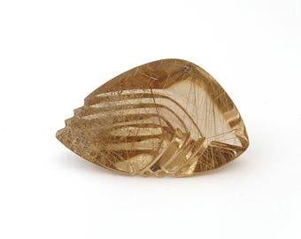 Gold Rutilated Quartz Gold Rutile Designer Cabochon Gemstones 22.7x37.8x14.8 mm Free Shipping
