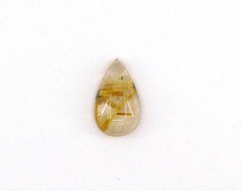 Natural Gold Rutilated Quartz Cabochon Gemstone 5.4x18.2x7.1 mm Free Shipping Free Returns