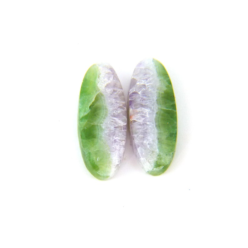 Amethyst & Fluorite Designer Cabochon Gemstone 9.0x22.9x4.2 mm image 0