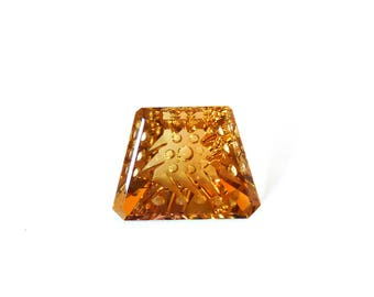 Brazil Citrine Designer Gemstone Carving 20.3x25.3x10.7 mm 36.7 carats Free shipping Jewelry Making Findings Supplies Supply Loose Gems GS