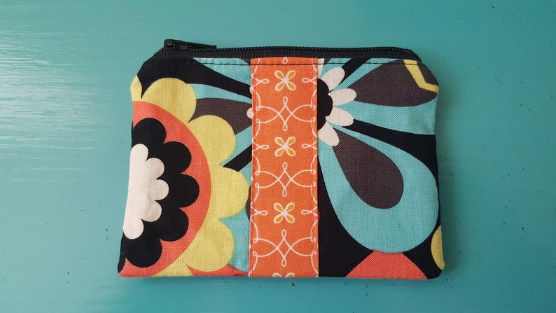 Small Floral Zippered Coin Purse Pouch Bag Michael Miller floral black teal turquoise yellow white