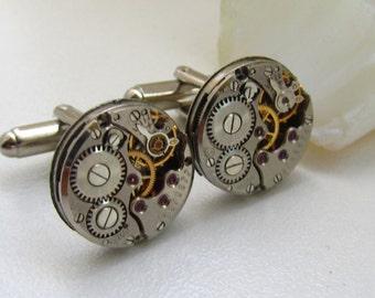 Steampunk Cufflinks with vintage watch movements Mens gears Birthday gift ideas Boyfriend gift Anniversary gift for Him industrial cufflinks