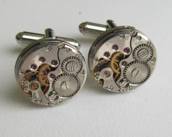 Steampunk Cufflinks  watch movements mens Cuff Links Father of the Bride Cufflinks for Geek Gift for Him Cool Cufflinks for Dad Cosplay