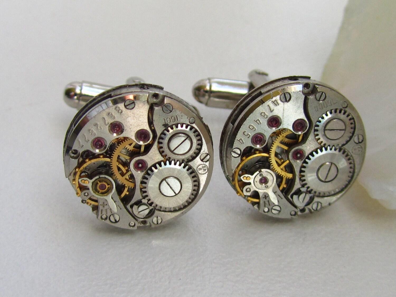 Steampunk Wedding Gifts: Steampunk Watch Movement Cufflinks Wedding Groom Mens Gifts