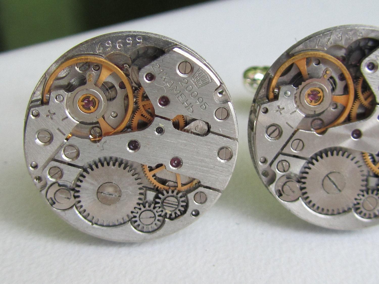Steampunk Wedding Gifts: Steampunk Watch Movement Cufflinks Wedding Groom Mens Gift