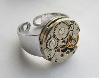 Steampunk Adjustable Watch Ring Gift for Him Mens Birthday gift ideas Mens Ring industrial jewellery Anniversary gifts Men's style